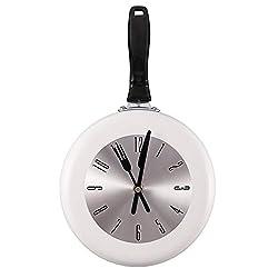 QINGQING Wall Clock Creative Metal Frying Pan Design 8 Inch Clocks Kitchen Decoration Novelty Art Horloge for Office/Kitchen/Bedroom/School Decorative