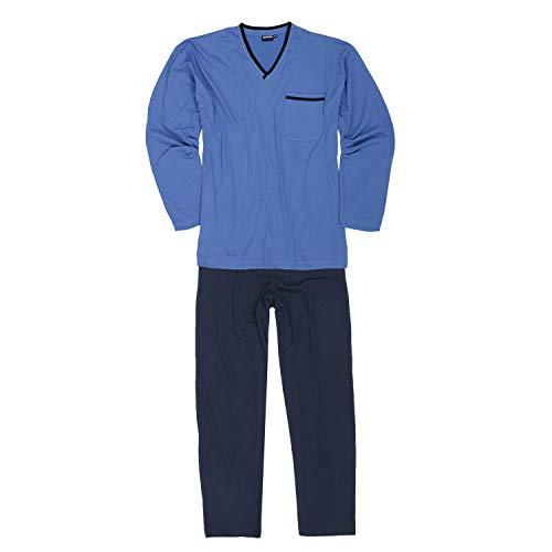 ADAMO Langer Herren Schlafanzug in hellblau Übergrößen bis 10XL und in Langgrößen bis 122, Größe:6XL