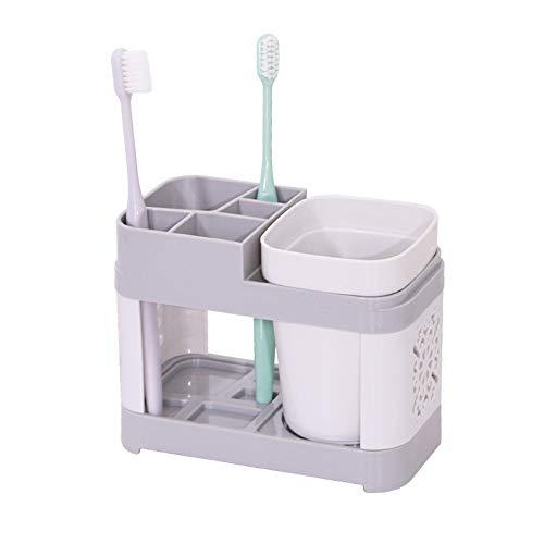 Wuyue Hua Soporte para vaso de cepillo de dientes Caddy Cup Base de asiento Baño de pasta de dientes Almacenamiento Inodoro Dos aparatos dentales extraíbles Asiento de caja de cepillo de dientes