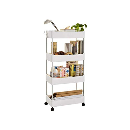 BBG Carts,4-Tier Bathroom and Kitchen Slim Storage Cart - Slide Out Shelf Storage Tower Cabinet - Plastic Small Mobile Shelving - Narrow Space Organizer - Bathroom &Amp; Kitchen - White