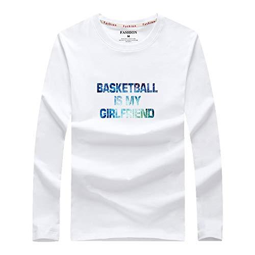 Camiseta de Manga Larga de algodón para Hombre, Camiseta Informal con Cuello Redondo y Cuello Redondo para Hombre