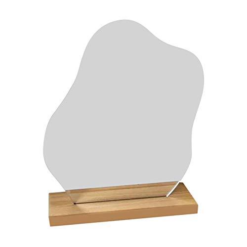Hellery Dressing Irregular Makeup Mirror mit Holzbasis für Frauen Dekoratives Geschenk - 24x19cm