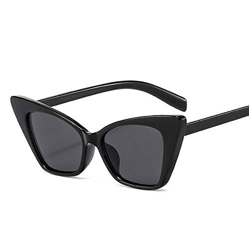 DLSM Gafas de Sol de Ojo de Gato Mujeres Retro Gafas de Sol Gafas de Sol adecuadas para la Fiesta de Playa Gafas de Sol de Golf-Gris Negro