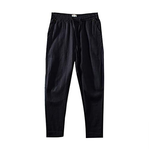 Pantaloni in Tessuto Effetto Lino da Uomo Pantaloncini di Lino Shorts Bermuda da Uomo Regular- Fit Pantaloni da Spiaggia Larghi da Uomo Pantaloni Estivi Traspiranti