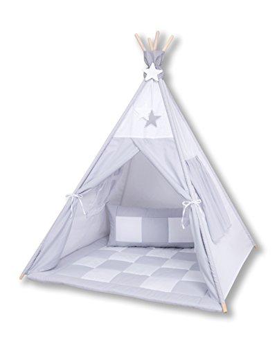 Amilian® Tipi Spielzelt Zelt für Kinder T39 (Spielzelt mit der Tipidecke und Kissen)