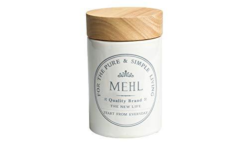 Vorratsdosen aus weißer Keramik mit Holz-Deckel, Aufdruck:Mehl