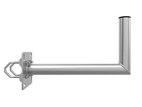 PremiumX 55cm Balkon Ausleger Aluminium Geländer-Halterung für Satelliten-Schüssel SAT-Antenne Wand-Halter mit Schellen