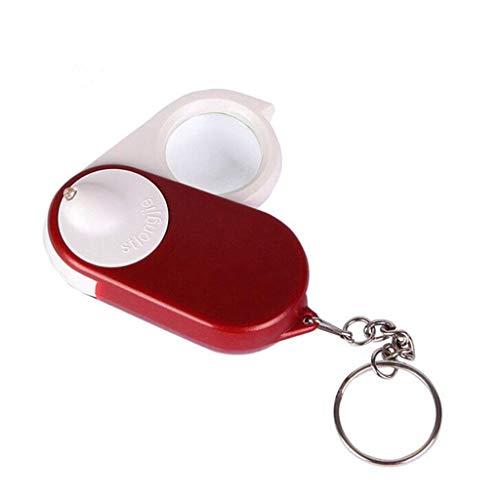 Allamp Llavero de Cristal 10x con luz LED Lupa Plegable portátil Mini Espejo Rojo