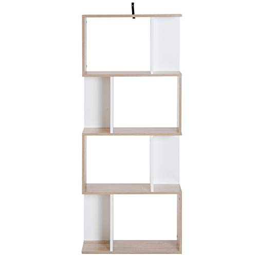 HOMCOM Bibliothèque étagère Meuble de Rangement Design Contemporain en S 4 étagères 60L x 24l x 148H cm chêne Blanc