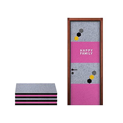 ROKKPSE 4 Pack Paneles Acústicos,100 * 50cm Autoadhesivo Azulejos acústicos Pared,Insonorizar Pegatinas para Puerta Casa Decoración Cuarto Silenciador Paneles acústicos Puertas(Color:Gris + Rosa)