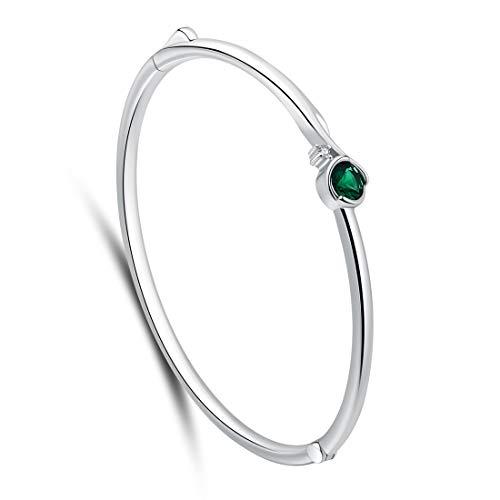 SA SILVERAGE Pulsera de plata de ley 925 con espinilla verde para mujer