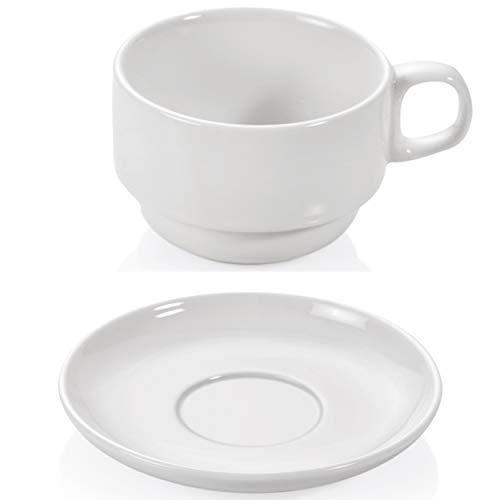 Gastro Spirit - 12-teiliges Teetassen/Kaffeetassen Set mit Untertassen - Füllmenge 180 ml, Weiß, Porzellan, Hotel-Tassen