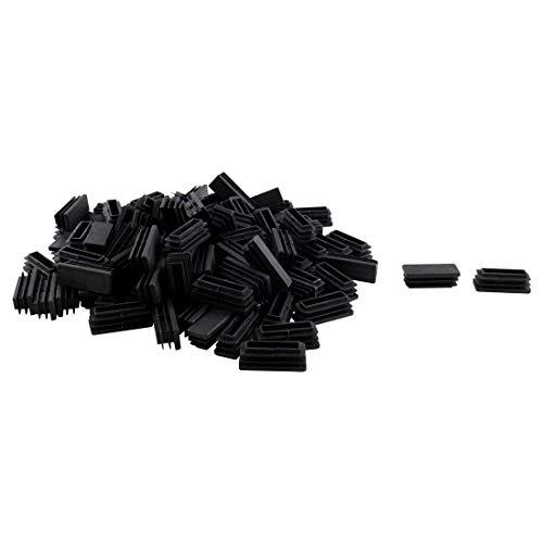 DealMux 100 Uds 15x40mm plástico rectangular tubo acanalado insertos tapa de extremo muebles silla deslizante pies de escritorio Protector de suelo