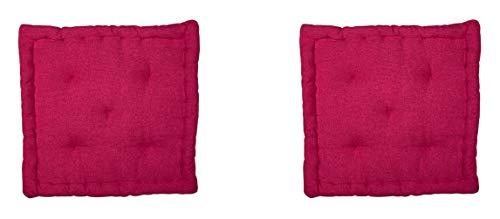 Homevibes - Cuscino per sedia, quadrato, set di 2 cuscini per pavimento o pallet, dimensioni 40 x 40 x 7 cm, per interni ed esterni, realizzato in 100% cotone, ideale per decorazione (fucia)