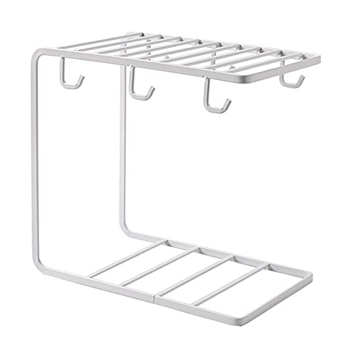 Cup holder with storage floor, metal coffee cup stand with 6 hooks, mug frame for mug, vintage cup rack for the kitchen (Color : White)