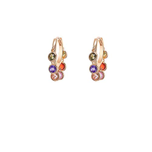 Colorful Cubic Zircon Crystal Earrings, Hoop Design, Hypoallergenic Materials, Birthday Gifts For Girls