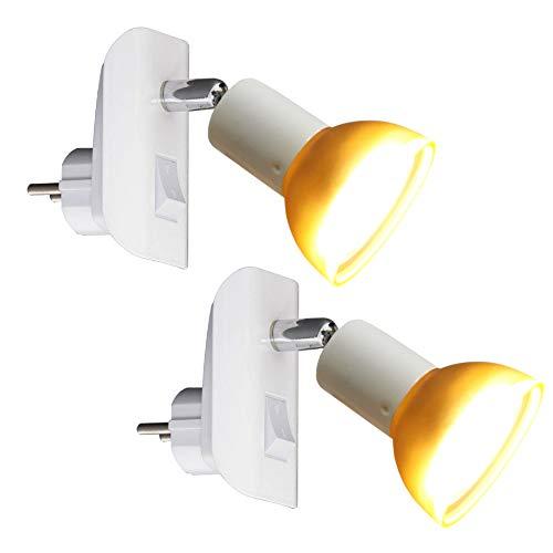 Trango Paquete de 2 LED Enchufe de luz nocturna TG11-246 en blanco con pantalla de cristal, incluye 1x GU10 3000K blanco cálido Lámpara LED y encendido/apagado Interruptor, Lámpara de lectura
