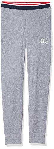 Odlo Kinder BL Bottom Long Active WARM Originals Kids Unterhose, Grey Melange - Placed Print FW19, 164