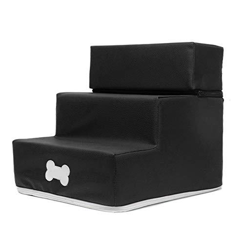Yhtumn Haustier-Treppenstufen aus Leder/Netzstoff, abnehmbare 3-stöckige Treppe, waschbare Leiter für Katzen und Hunde, Schwarz , style :leather