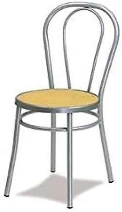 VENETO Chaise Thonet Metal Gris Aluminium Assise Paille De Vienne Chaises Pour Cuisine