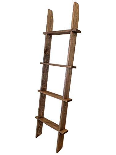 Strix Ind 5ft Rustic Blanket Ladder   Stable Farmhouse Furniture   Made in USA   Towel Ladder for Bathroom   Chic Boho Decor… (Rustic Brown)