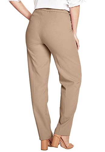 Roamans Women's Plus Size Petite Bend Over Classic Pant - New Khaki, 20 WP