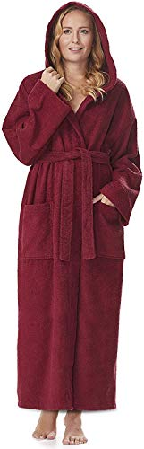 Arus Bademantel-Astra, für Damen und Herren mit Kapuze, wadenlang, Größe: S/M, Farbe: Bordeaux