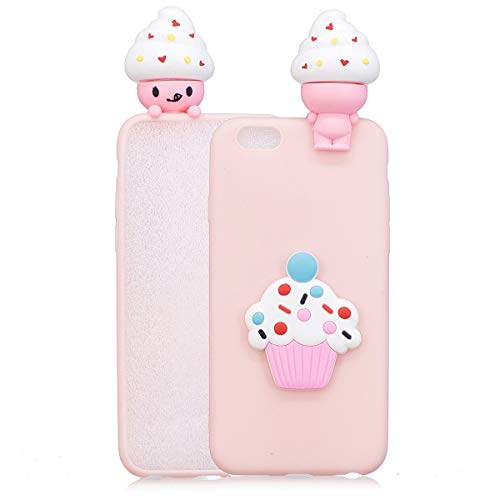 Wubaouk Cover iPhone 6 Plus/iPhone 6s Plus Case Cute Ice cream Pattern 3D Cartoon Soft Silicone Cover Animals Designed with 3D Soft Silicone Cartoon Animal