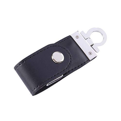 Anico 16GB USB-Stick Speicher Leder Schlüsselanhänger schwarz als Geschenk verpackt
