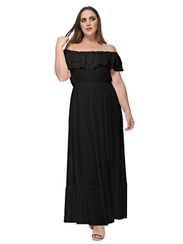 Anna-Kaci Womens Plus Size Boho Peasant Ruffle Stretchy Off Shoulder Long Dress, Black, XX-Large
