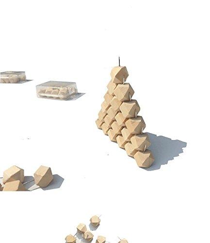 eZAKKA幾何画びょうピン押しピン木製のプッシュピンコルクボード地図写真カレンダー用ケース付(幾何-30本)