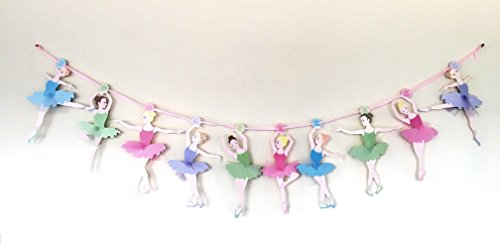 Cathy's toy Shop Ballet Bellerina Dancing Birthday Girl Paper Banner Party Decoration Hanging Bunting 10ft 3m