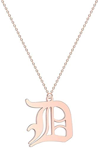 AOAOTOTQ Co.,ltd Necklace Letter Couple Necklace Men Women Initial Name Stainless Steel Jewelry Rose Gold Ethnic Gold Friendship Necklaces Gift
