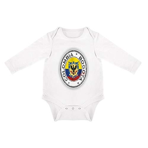 VinMea Divertido body de manga larga con sello Colombia, Bogotá, recién nacidos, niños y niñas (0-3 meses, blanco)