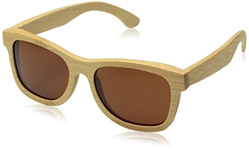 iSunHot 1-Pack Bamboo Wood Sunglasses with Polarized UV Protection Lens in Vintage Wayfarer Style - Authentic Natural Frame for Men/Women Handmade Eyeglasses at The Beach