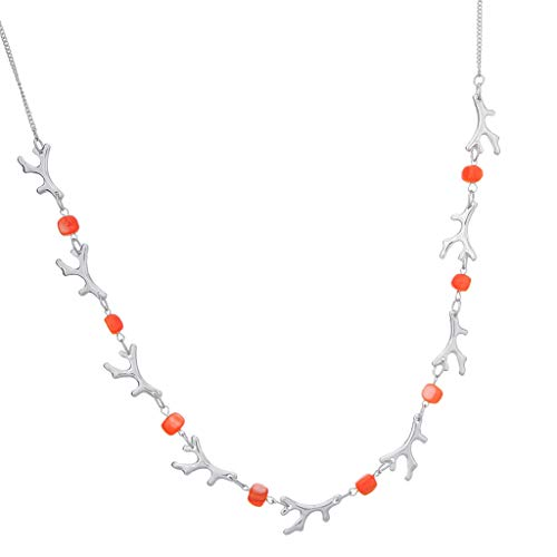 Sharplace Largo Collar con Cuentas de Cristal Gargantuan de Mujeres para Ropa Adornos Retro - Plata