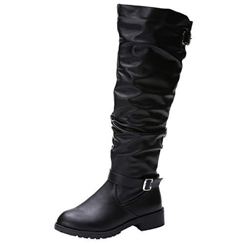 Xuthuly Mode Frauen Winter Outdoor Single Schuhe Klassische Retro Reißverschluss Hohe Stiefel Beiläufige Reine Farbe Kniehohe Schuhe