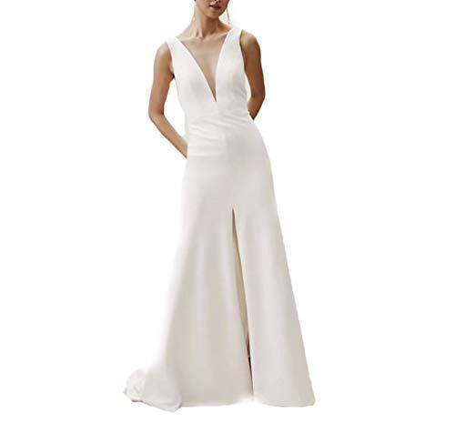 HYC Jumpsuits A-Linie ärmelloses Brautkleid tiefer V-Ausschnitt Brautkleid Country Plus Size - Weiß - 46