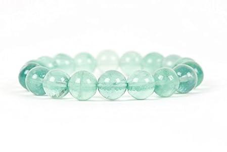 Green Fluorite Bracelet, Natural Gemstone Stacking Bracelet, 10mm Fluorite Gemstone