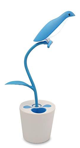 ZHOPPY LED Desk Lamp for Kids, 3-Level Dimmer Touch Sensitive Control, Flexible Gooseneck, Portable Rechargeable Book Light, Bird Pencil Holder, Blue