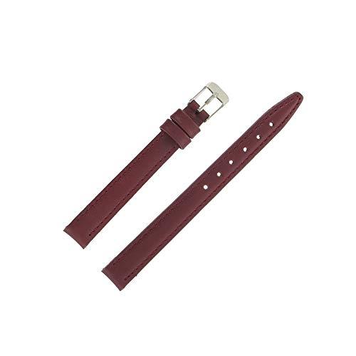 OnWatch - Correa de reloj de piel auténtica de 12 mm, color burdeos