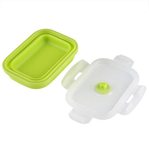 Fiambrera de silicona de grado alimenticio para microondas, 5.3 x 3.9 x 2.6 pulgadas, 3 colores, 350 ml, contenedor de alimentos, para acampar para picnics(green)
