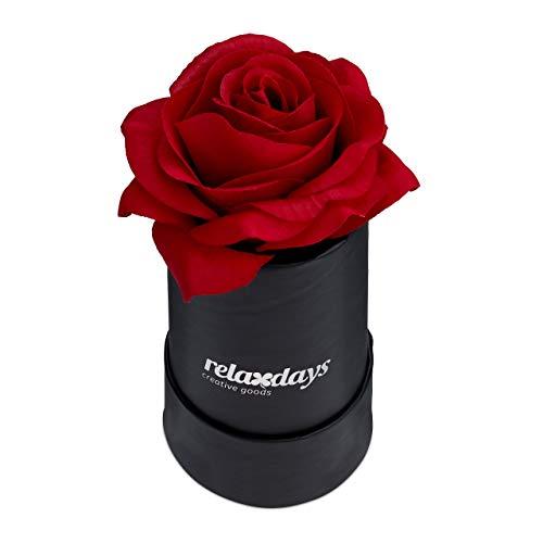 Relaxdays Rosenbox rund, 1 Rose, stabile Flowerbox schwarz, 10 Jahre haltbar, Geschenkidee, dekorative Blumenbox, rot