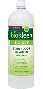 Biokleen Bac-Out Stain+Odor Remover, Destroys Stains & Odors Safely, for Pet Stains, Laundry, Diapers, Wine, Carpets, More, Eco-Friendly, Non-Toxic, Plant-Based, 32 Ounces