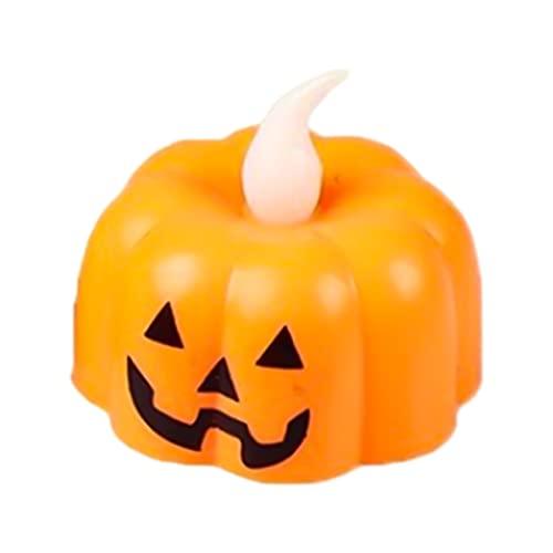 WEJSI Velas LED sin llama, 12 unidades, luces de té de calabaza realistas, luces de té para decoración de otoño, Halloween, fiesta de Acción de Gracias (A)