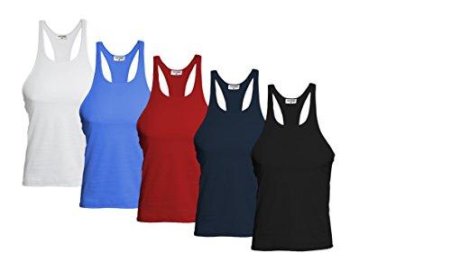 Raftaar® 5er-Pack Muskelshirts, Tank-Tops, Sport-Oberteile für Herren, für Fitnessstudio oder Bodybuilding, mit Ringerrücken Gr. M, White, Black, Navy, Royal, Red