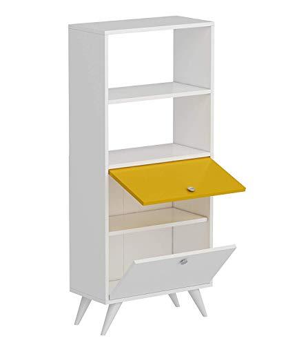 HOMIDEA KATTUS Libreria - Scaffale per Libri - Scaffale per Ufficio/Soggiorno dal Design Moderno (Bianco/Giallo)