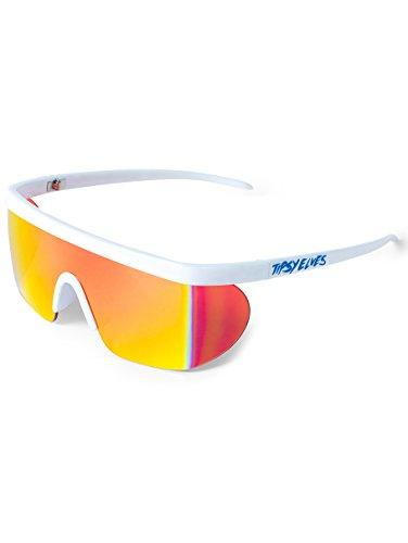 Unisex Performance Sport Style Retro Mirrored Sunglasses (White Miami Ice, 5.75)