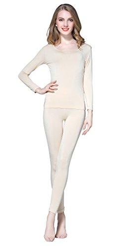 Vinconie Women Base Layer Thermal Shirt Long Underwear Set Thermo Sport, 1 Pack Beige, M