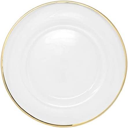 Clear glass plates with gold trim _image1